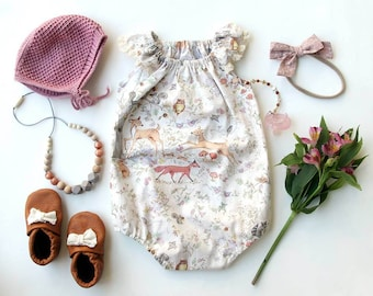 woodland baby romper, bubble romper, baby shower gift, baby girl clothes, newborn baby dress, coming home outfit, fox baby clothes,