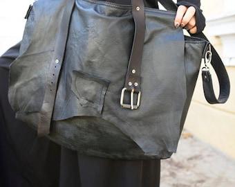 Extravagant Leather Belt Bag / Maxi Black Genuine Leather Bag / Oversize Tote Bag with Belt / Large Black Purse / Black Designer Bag