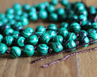 Knotted 6mm Malachite beads, 28 inches, natural stone beads, round, 60100