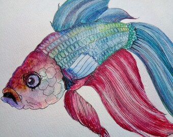 Water Color Painting Beta Fish