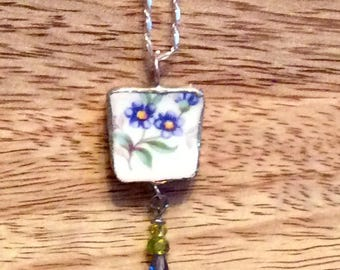 BROKEN CHINA Hall China USA Necklace/Pendant,Sterling Silver, Glass Beads, Recycled China