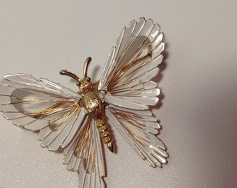 1960s Gold and White Enamel Florentine  Butterfly Brooch