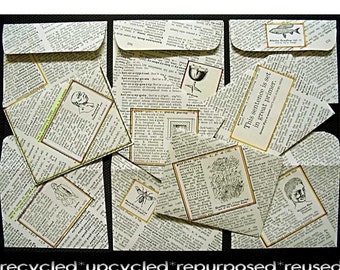 Mini ENVELOPES lot of 10 Educational Handmade lovingly handcrafted from recycled vintage dictionary book pages for promo note cards or ACEOs