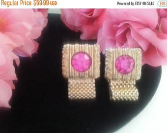 ON SALE Swank Pink Rhinestone Cuff links, Designer Signed 1960's Cufflinks, Old Hollywood Glam, Hollywood Regency, Gift For Him, Mad Men Mod