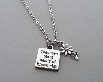 Teacher Necklace, Teacher Charm Necklace, Teachers Plant Seeds Of Knowledge, Teacher Gift, Teacher Jewelry, Flower Charm, Stainless Steel
