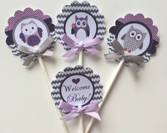 Owl purple and gray  cupcake toppers/ Owl  cupcake toppers/ baby shower cupcake toppers/Owl cupcake toppers