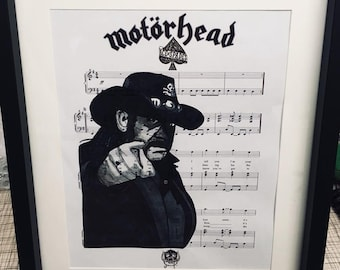 Hand drawn Motorhead music sheet Art
