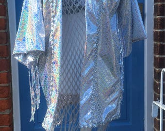 Super Silver Sparkle Holographic Fish Scale Mermaid Kimono