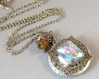 April's Bouquet,Vintage Necklace,Vintage Diamond,Vintage STone,Vintage Crystal,Vintage Locket,Vintage Diamond Necklace,April Birthstone