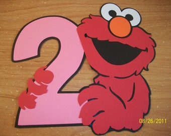 Elmo holding a number 2 (in your color choices) die cut- set of 6