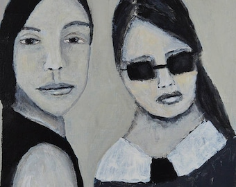 Black & White Acrylic Portrait Painting. Mixed Media Collage Art. Two Women Portrait Art With Muted Colors. Home Wall Decor