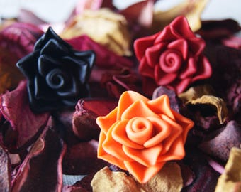 ROSE Necklace Ring Pendant Fimo