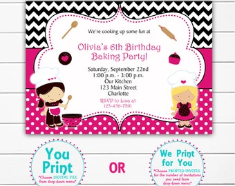 Cooking  Birthday Party  Invitation --  Baking birthday party invitation -- cupcakes cooking baking