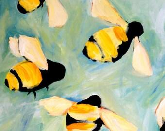 Bees happy art print of original oil painting 5x7 cute bumble bee PRINT kids room idea