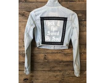 Rock & Roll Saved My Soul Cropped Denim Jacket