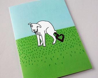 Mothers Day, Mum's Day from the Dog, Funny Greeting Card, Love Card, Card from the dog, Pet, Dog Loves Mum -  White Dog says I LOVE YOU