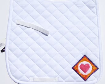 White Dressage Saddle Pad for English Saddles with 60s Retro Batik Medallions from The Summer Love Collection LD-75