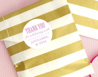 Personalised Wedding Favour Stickers Party Accessory for Wedding Favour Gift Bags - Custom Colour Choices