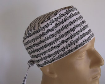 Note Worthy Men's Surgical Scrub Hat  with sweatband option, Scrub Cap, Bakers Hat, 166+100 W
