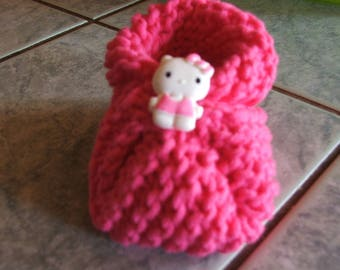 little pink slippers with cat head - size 10 cm 0/3 months - hand made