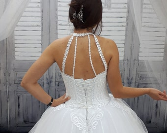 Bohemian wedding dress, Boho wedding dress, silver wedding dress, wedding gown