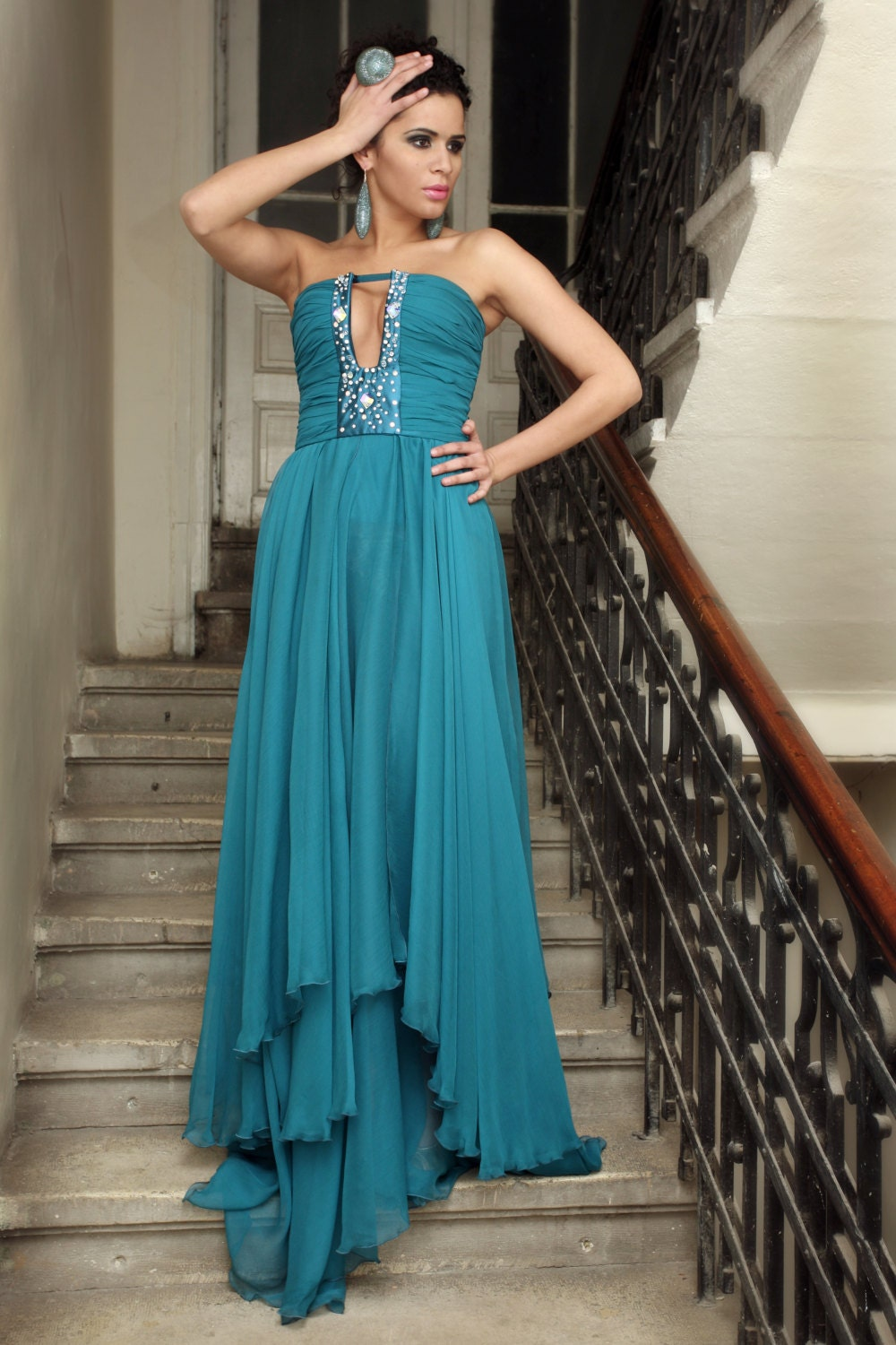 Long blue dress with handmade Swarovski crystals embroidery