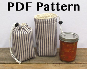 Mason Jar Carrier Bag PATTERN, Jars to Go Single instant download PDF drawstring lunch snack gift bag carrier cozy