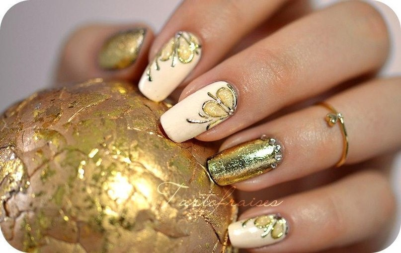 Gold Silver Gel paint 5 ml and 1m Gold Silver Foil for Nail Art from ...