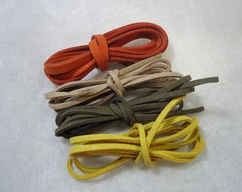 4 m cord flat suede natural colors