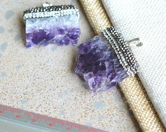 Amethyst Druzy Slice Pendant, Rhinestone Pave, Amethyst Slice Pendant, Purple Gemstone Pendant, February Birthstone, Gift for Her, HAS18113J