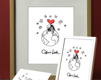 Postcards and picture for the frame Wedding card Engagement card Declaration of Love Heart Panda gift for wife gift for husband for lovers