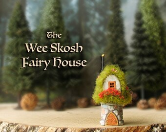 The Wee Skosh Fairy House - Tiny Polymer Clay Woodland House with Wild Grass Covered Roof, Flower Box, Fairy Mushrooms and Arched Door