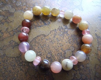 Untouched Garden Agate Rose Quartz Beaded Stretch bracelet