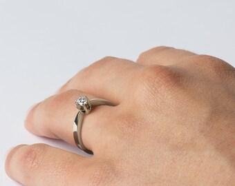 Solitaire Engagement Ring, Modern Ring, Single Diamond Ring, 14K White Gold, Delicate Ring, Fine Ring