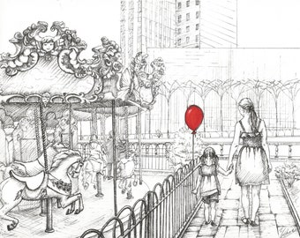 Mother and Daughter / Mother and Son. New York, Bryant Park Carousel. Best Mother's Day Gift. Giclee Print.