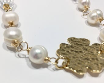 Flower Fresh Water Pearls Gold Filled Necklace