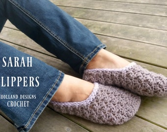 Download Now - CROCHET PATTERN Sarah Slippers - Ladies Sizes - Pattern PDF