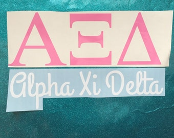 Sorority Greek Letters College University Sticker Vinyl Decal Big Little Gift Alpha Xi Delta Kappa Delta Zeta Tri Delta Alpha Delta Pi