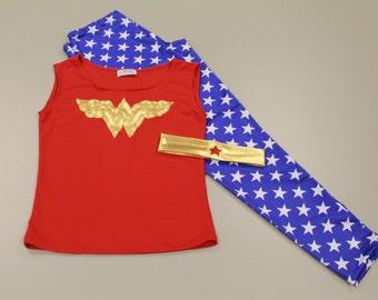 Ladies Wonder Woman Workout Outfit - Gym Wear, Ladies leggings