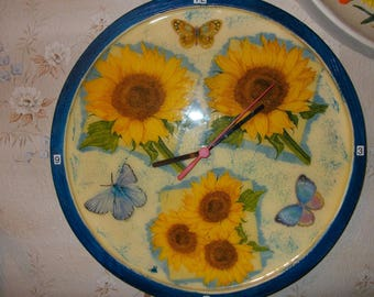 Pendulum clock handmade decorative SUNFLOWERS