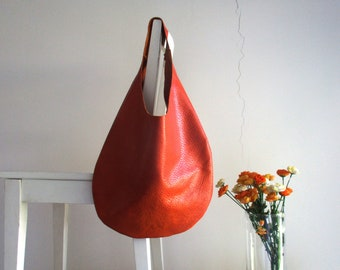 Tan/ Ginger Genuine Italian Leather Hobo bag, Over Size, Slouchy, Shoulder bag