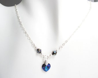 Electric Blue Heart Pendant Necklace, Valentine Gift Jewelry, Sterling Silver Heart Chain Necklace, Blue Purple Swarovski Jewelry