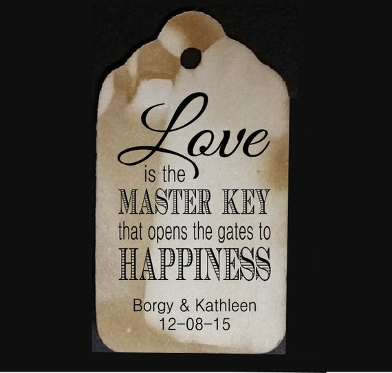 "Love is the Master Key SMALL 2"" Favor Tag type the names you would like on your tag in the notes to seller area at checkout"