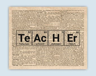 Periodic table word etsy periodic table teacher art words made from elements periodic table dictionary page art urtaz Images