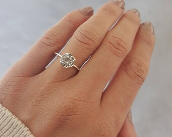 White topaz, engagement ring, dainty ring, 7mm, prong setting, sterling silver, solitaire, crown ring