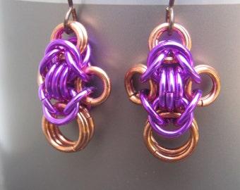 Bright Pink Earrings, Copper Byzantine Chainmail Earrings, Colorful Chainmail Jewelry, Copper Jewelry, Mixed Metal Earrings