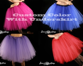 Custom Color tutu skirt Romance knee length extra puffy petticoat Adult WITH UNDERSKIRT bridal --You choose size-- Sisters of the Moon