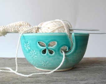 ceramic yarn bowl, turquoise butterfly crochet bowl,  pottery wool bowl, wheelthrown yarn bowl, knitter's bowl, unique yarn bowl