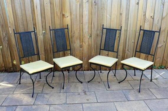 high mesh back patio chairs set of 4 mid century modern metal