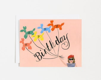 HAPPY BIRTHDAY  - Lady - Mom - Sister - Friend - Beret - Happy Birthday - Card - Note - Balloons